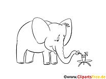 Éléphant dessin à télécharger – Afrique à colorier