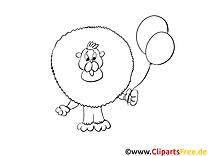 Lion clip art gratuit – Afrique à colorier