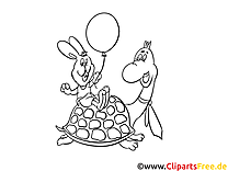 Tortue lapin image – Coloriage zoo illustration