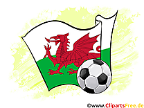 Pays de Galles Drapeau Image Football gratuit pour télécharger