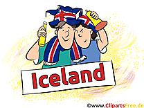 Fans Football Clipart Joueur Islande sur le Terrain