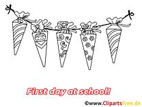 Coloriage clipart rentrée – Début école dessins gratuits