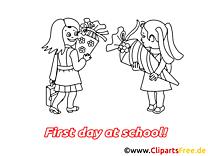 Coloriage dessin rentrée – Début école cliparts à télécharger