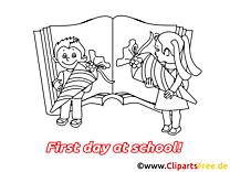 Coloriage image rentrée – Début école images cliparts