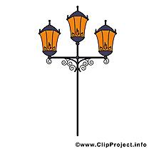 Lampadaire clip art gratuit - Rue nuit dessin