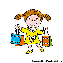 Shopping image à télécharger - Fille clipart