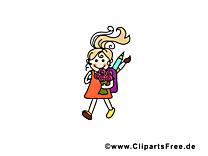 Carte jolie fille clip art – École gratuite