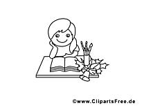 Pupitre clip art à colorier – École gratuite