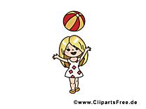 Balle clip arts gratuits - Petite fille illustrations