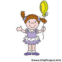 Ballon clip art gratuit - Fille dessin