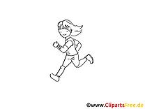 Jogging image à imprimer - Fille cliparts