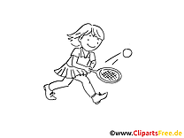 Tennis clip arts à imprimer - Fille illustrations