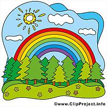 Arc-en-ciel soleil  clip art gratuit – Été dessin