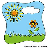 Dessin nuage fleur soleil – Été clip arts gratuits