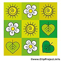 Fleurs feuilles clip art gratuit – Été dessin
