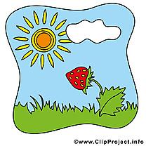 Fraise soleil illustration gratuite – Été clipart