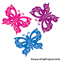 Illustration papillons gratuite – Été clipart
