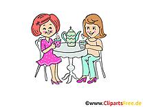 Thé clip arts gratuits - Soirée illustrations