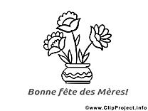 Coloriage illustration fleurs – Fête des Mères images