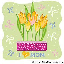 Tulipes clip art gratuit – Fête des Mères dessin