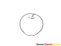 Dessin à colorier pomme - Fruits cliparts à télécharger