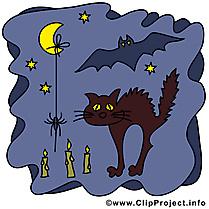 Chat noir nuit images gratuites – Halloween clipart