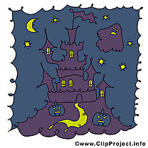 Château dessin - Halloween clip arts gratuits