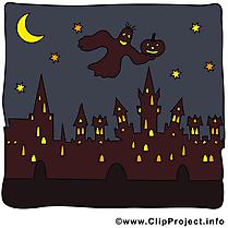 Dessin à télécharger ville nuit - Halloween images