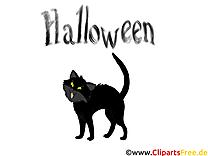 Dessin chat noir - Halloween cliparts à télécharger
