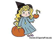 Fille citrouille clip art gratuit - Halloween dessin