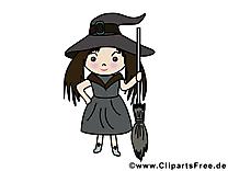 Fille sorcière cliparts gratuis - Halloween images
