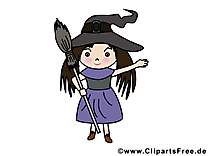 Fille sorcière image gratuite - Halloween illustration