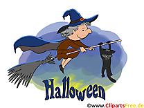 Halloween  illustration - Sorcière clipart