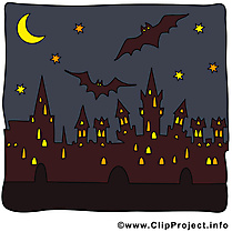 Image ville nuit - Halloween images cliparts