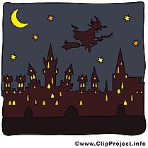 Ville nuit clip arts gratuits - Halloween illustrations