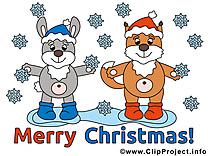 Chien lapin dessin - Noël cliparts à télécharger