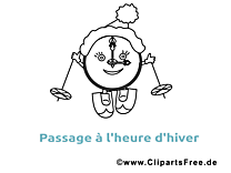 Clip arts gratuits pendule à imprimer - Hiver illustrations
