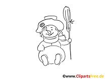Clipart à colorier bonhomme de neige - Hiver dessins