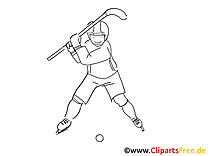 Clipart à colorier hockeyeur - Hockey dessins gratuits