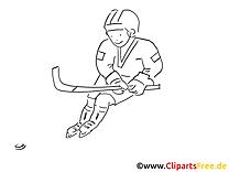 Coloriage hockeyeur - Hockey illustration