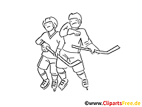 Coloriage hockeyeurs - Hockey clip art gratuit