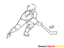Dessin à colorier joueur - Hockey cliparts à télécharger