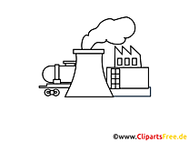 Clip art Industrie à colorier gratuite usine