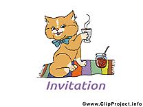 Chat image gratuite – Invitation clipart