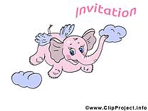 Éléphant rose dessin - Invitation images