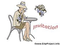 Femme dessin - Invitation clip arts gratuits
