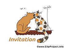 Toit chats dessin à télécharger - Invitation images