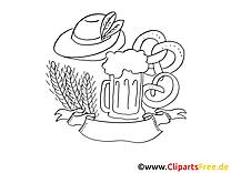 Bretzel image à colorier - Oktoberfest cliparts