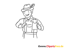 Homme bière illustration à colorier gratuite