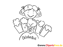 Oktoberfest clip art à colorier - Bière dessin